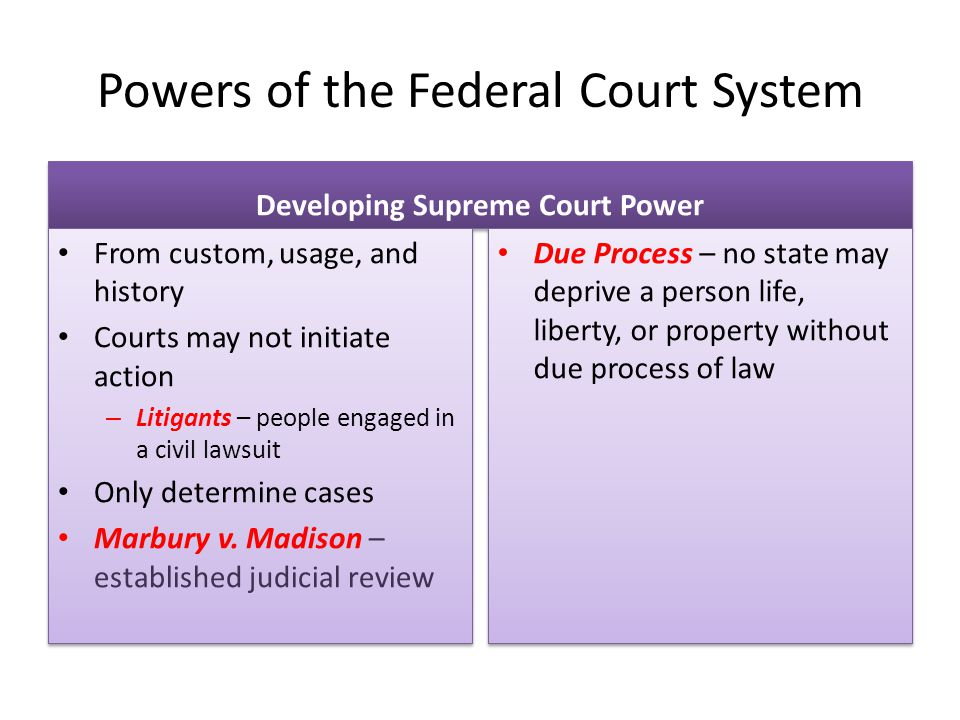 Powers of the Federal Court System