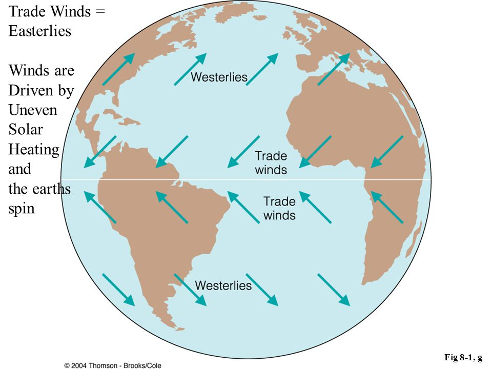 Trade Winds = Easterlies Winds are Driven by Uneven Solar Heating and