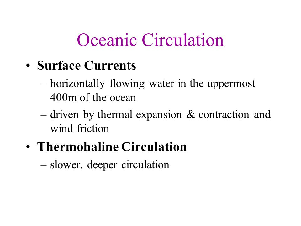 Oceanic Circulation Surface Currents Thermohaline Circulation