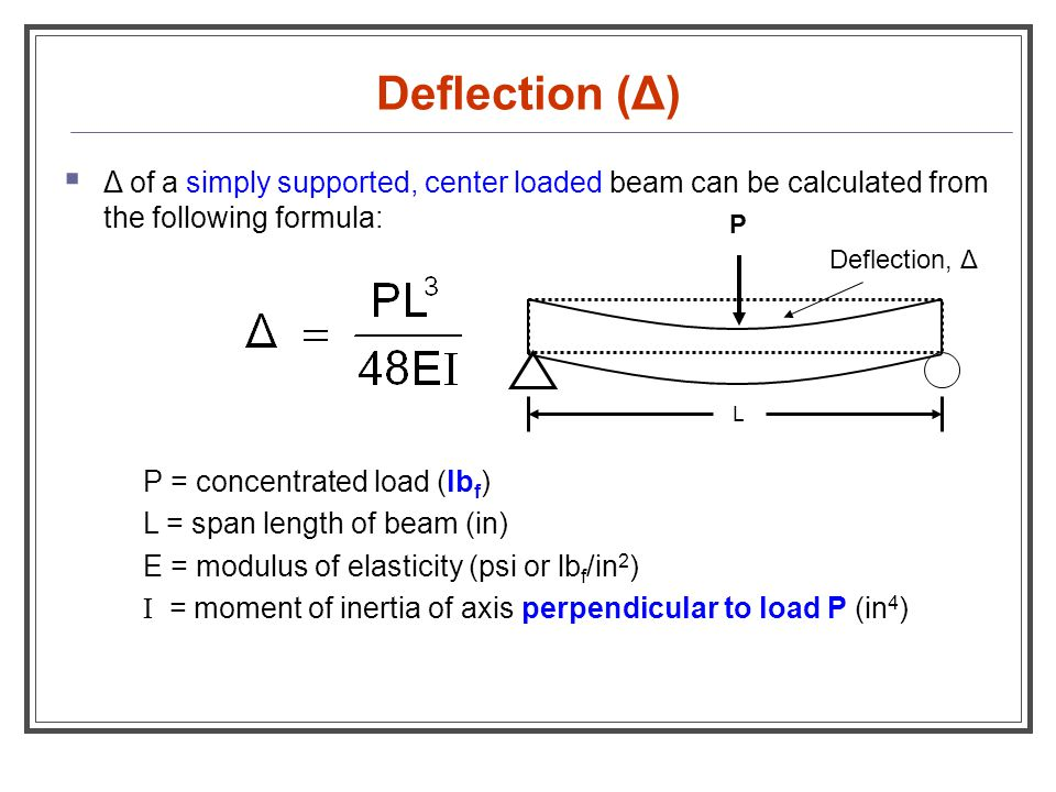 deflection of simply supported beam In this study two deflection functions due to both the flexure and the shear of an orthotropic simply supported beam loaded linearly are obtained by means of the anisotropic elasticity theory.
