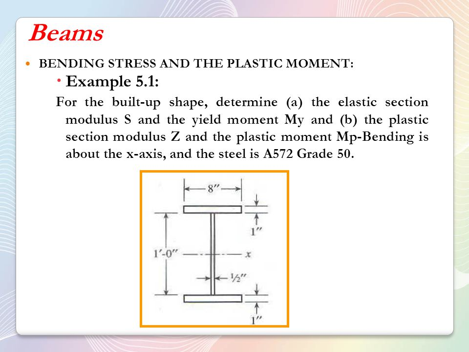 Beams BENDING STRESS AND THE PLASTIC MOMENT: Example 5.1: