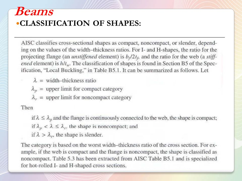 Beams CLASSIFICATION OF SHAPES: