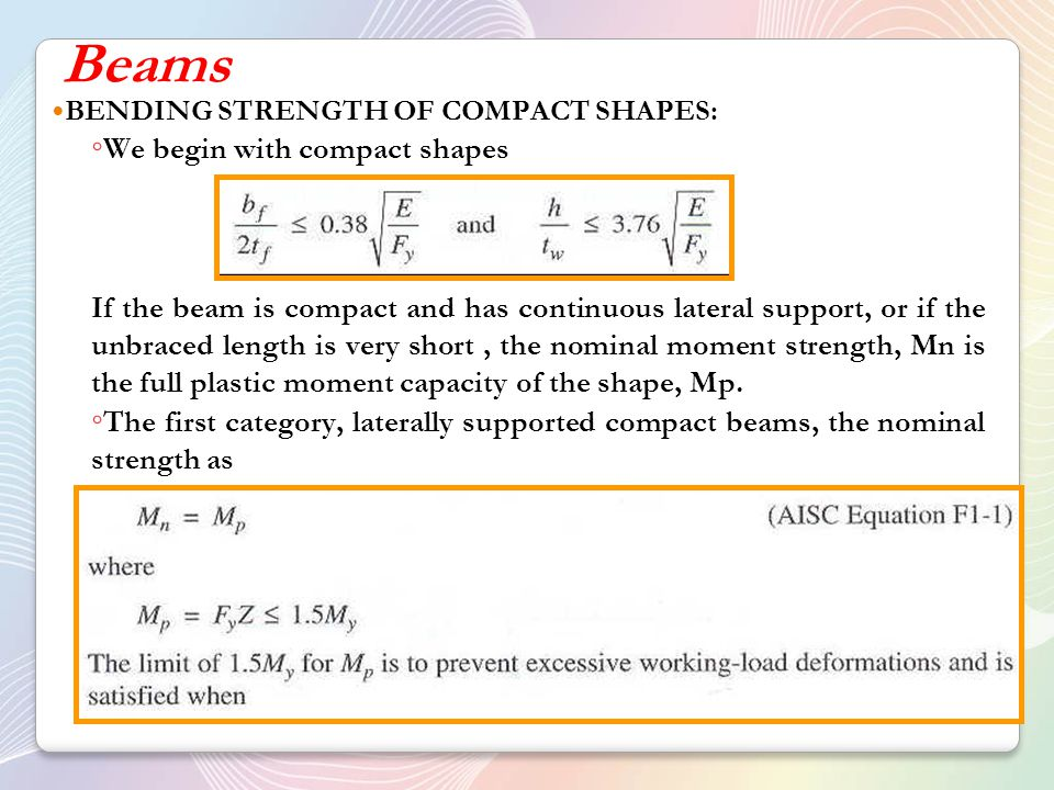 Beams We begin with compact shapes