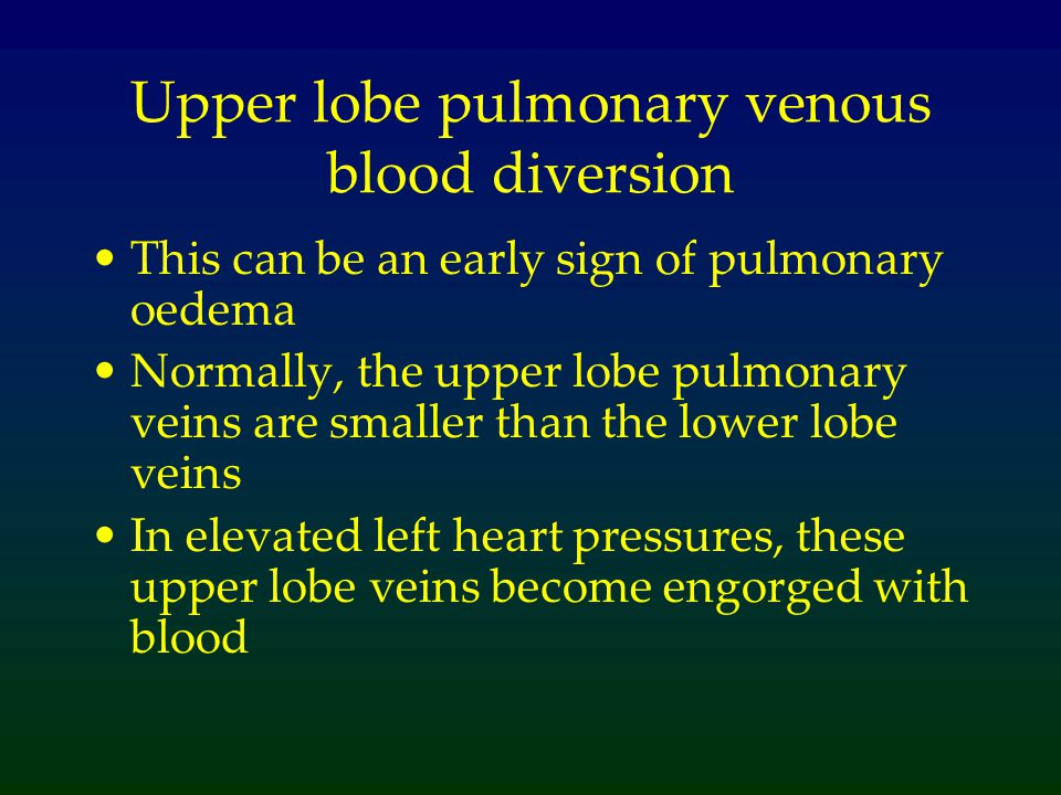 Upper lobe pulmonary venous blood diversion
