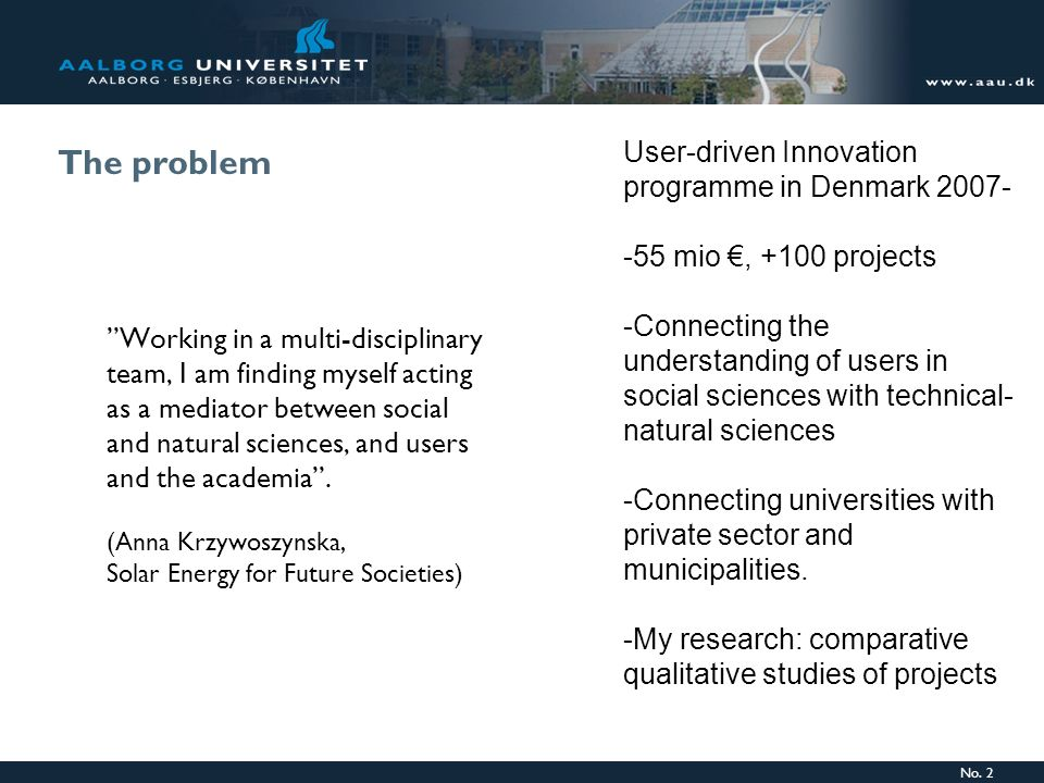 The problem User-driven Innovation programme in Denmark 2007-