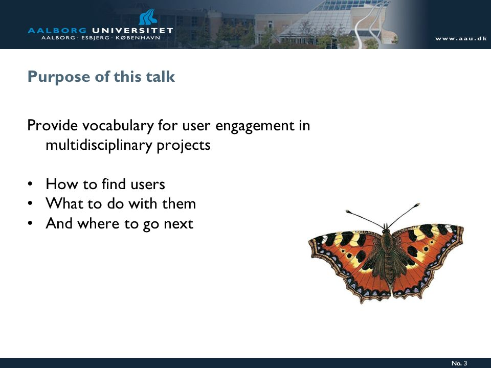Provide vocabulary for user engagement in multidisciplinary projects
