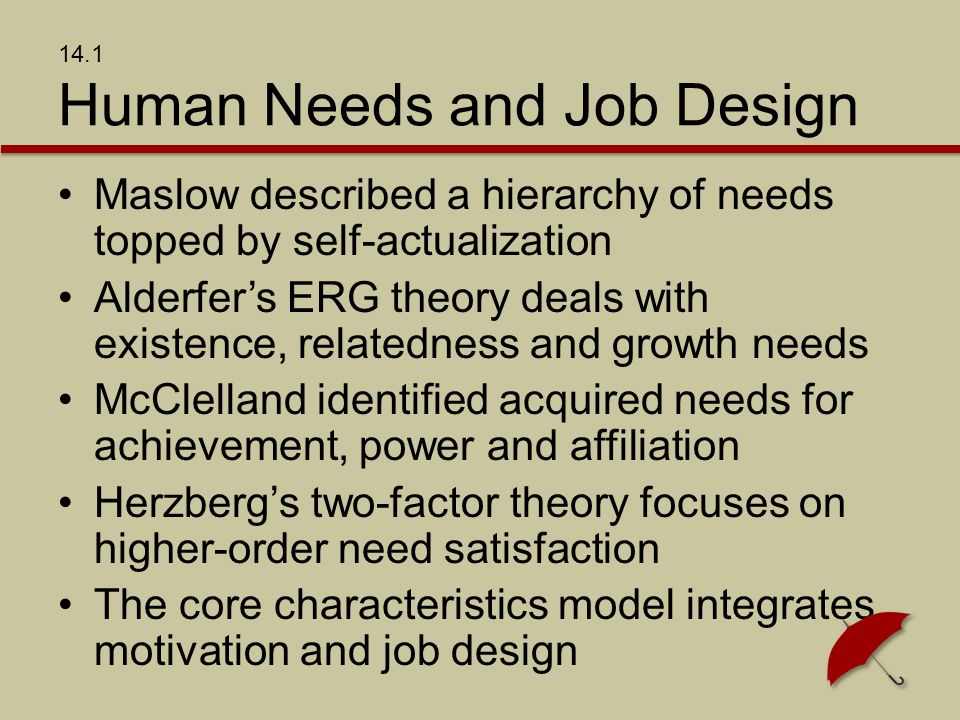 14.1 Human Needs and Job Design