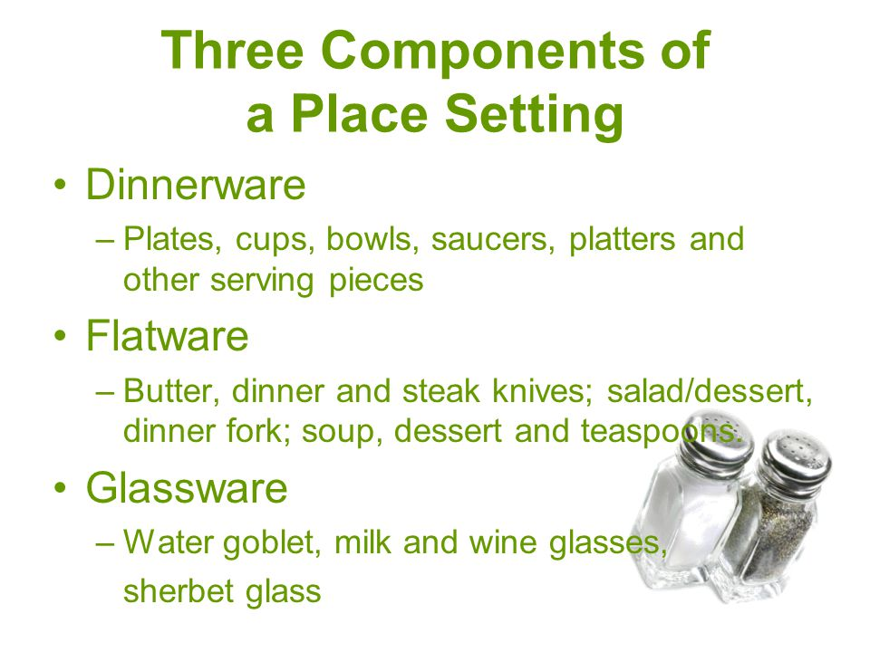 Three Components of a Place Setting