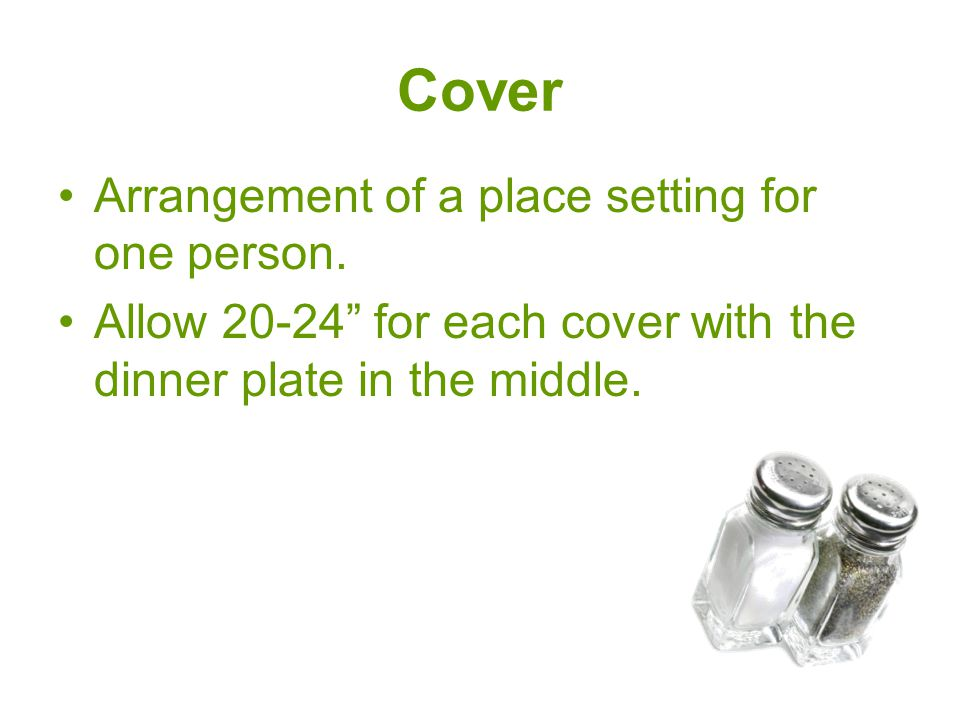 Cover Arrangement of a place setting for one person.