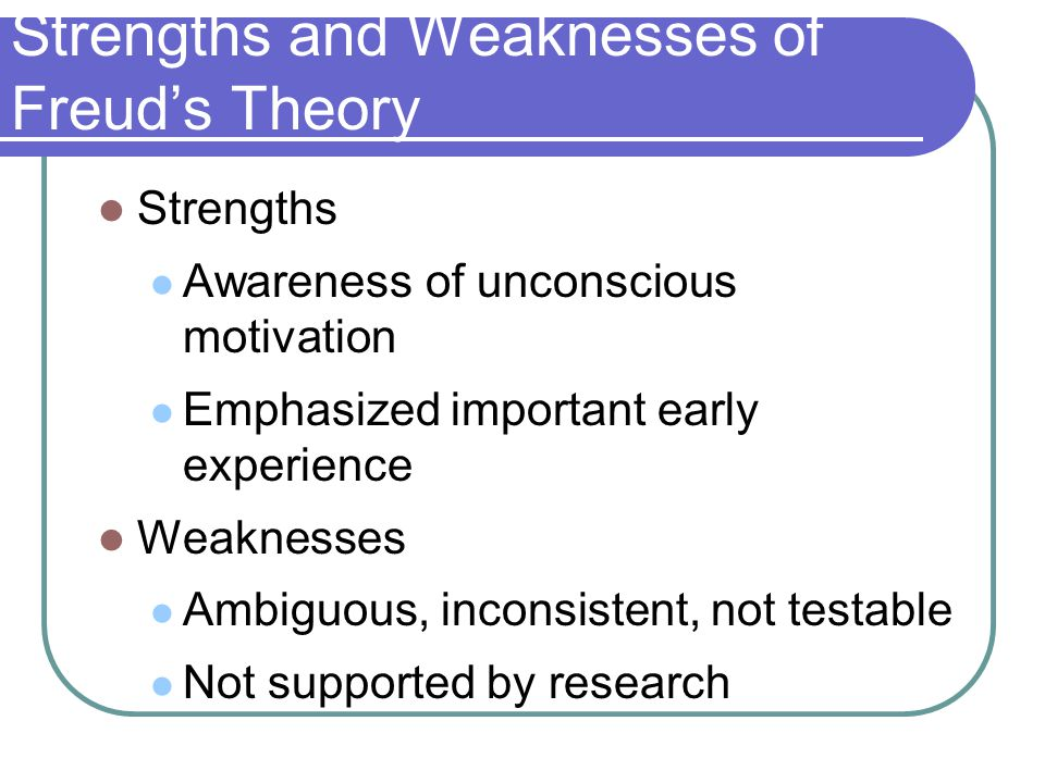 Freuds psychosexual theory strengths