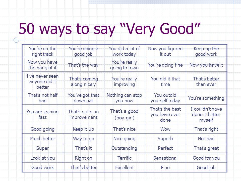 ways to say nice job