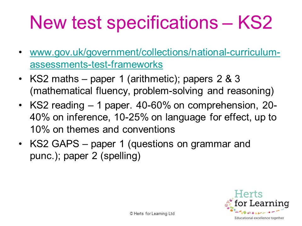 New test specifications – KS2