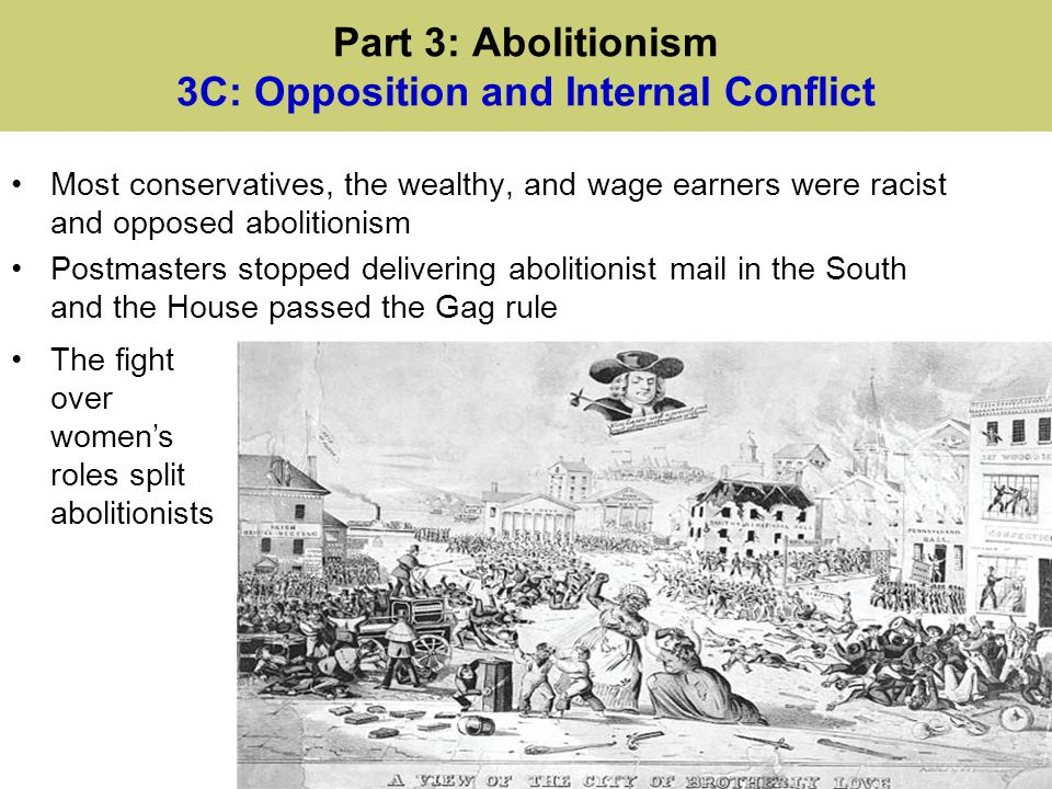 Part 3: Abolitionism 3C: Opposition and Internal Conflict