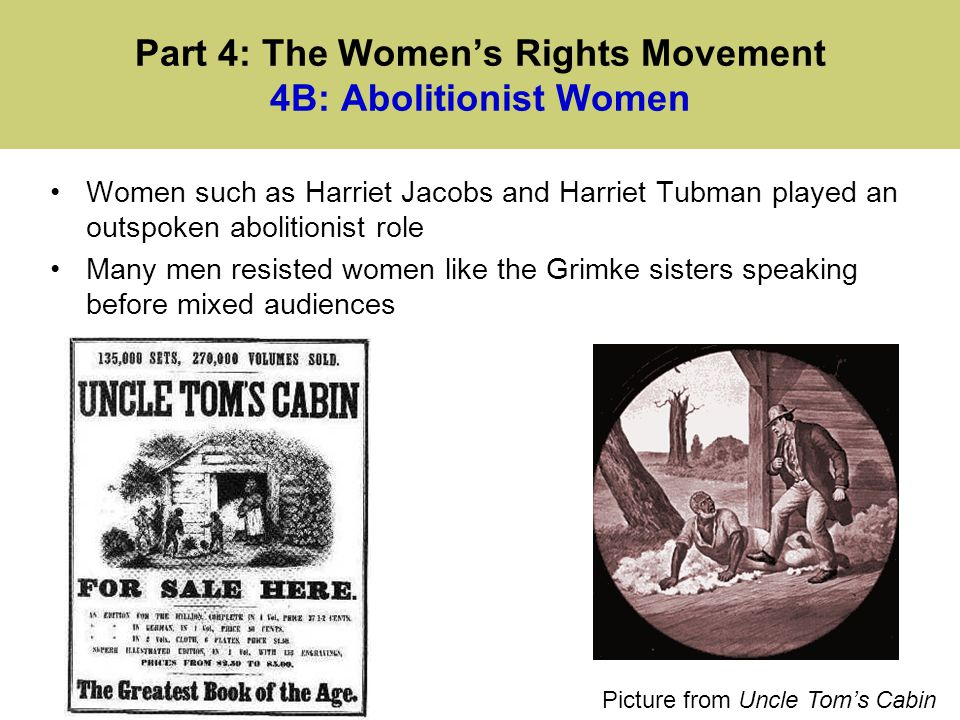 Part 4: The Women's Rights Movement 4B: Abolitionist Women
