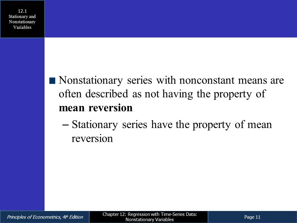 Regression with Time-Series Data: Nonstationary Variables - ppt