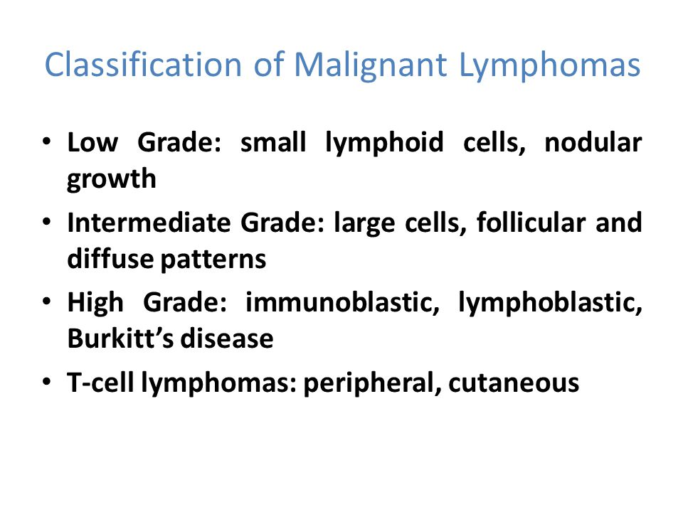 Classification of Malignant Lymphomas