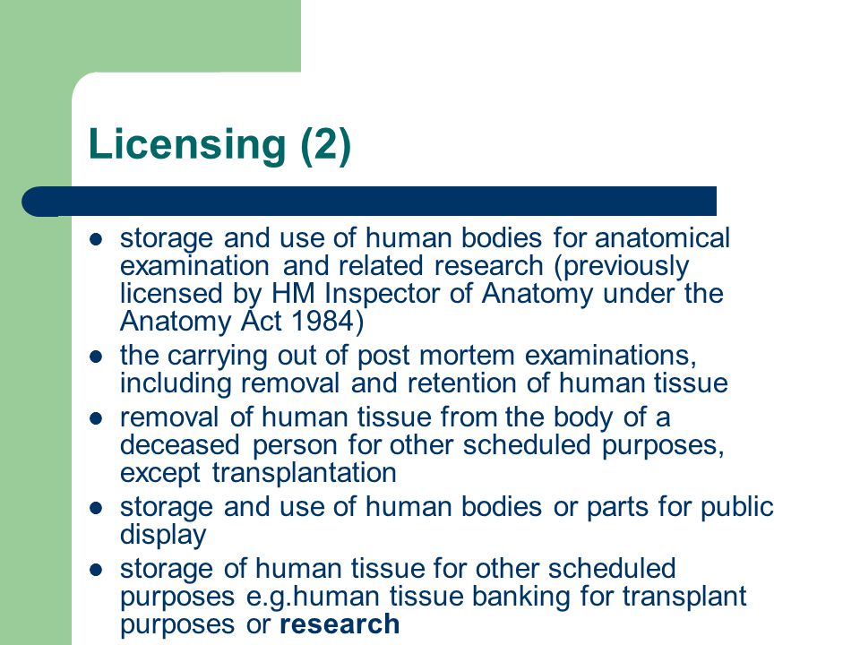 Human Tissue Act: implications for research - ppt download