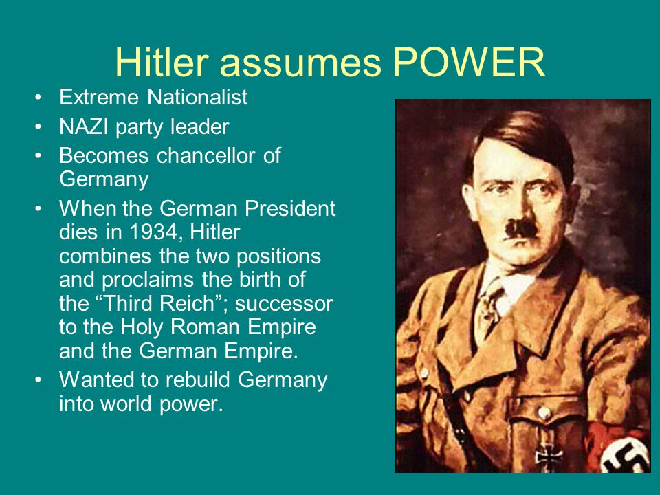 Hitler assumes POWER Extreme Nationalist NAZI party leader