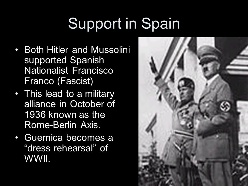 Support in Spain Both Hitler and Mussolini supported Spanish Nationalist Francisco Franco (Fascist)