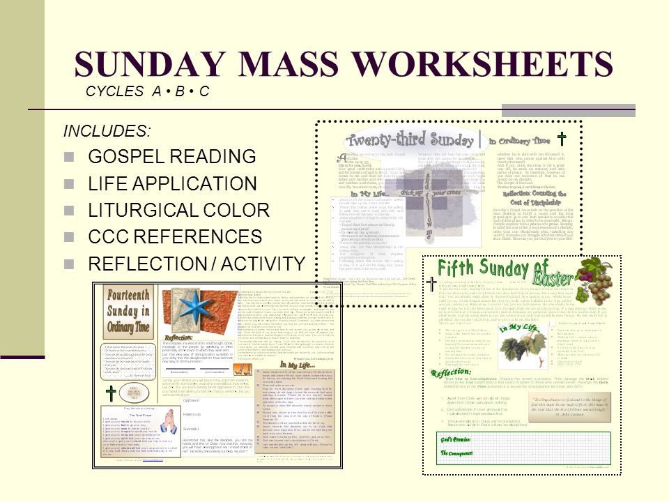 SUNDAY MASS WORKSHEETS
