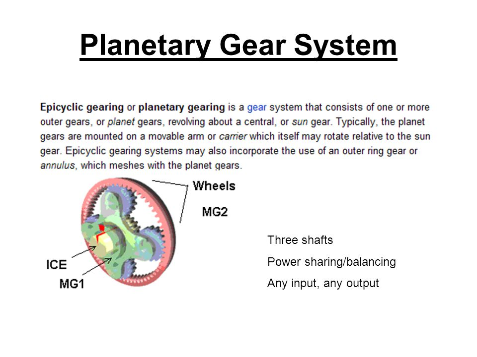Planetary Gear System Three shafts Power sharing/balancing