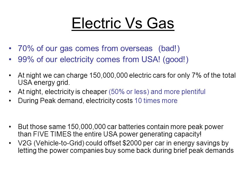 Electric Vs Gas 70% of our gas comes from overseas (bad!)