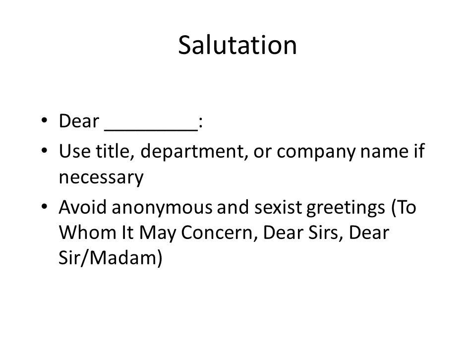sirmadam salutation dear ______