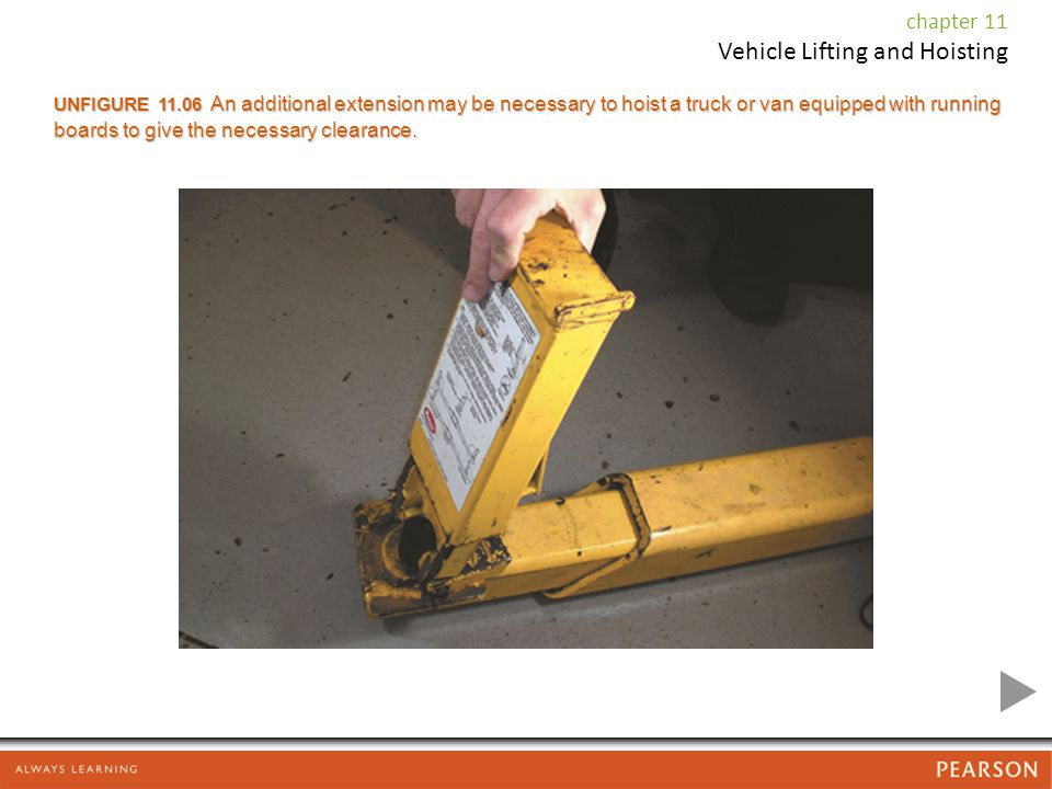 UNFIGURE An additional extension may be necessary to hoist a truck or van equipped with running boards to give the necessary clearance.