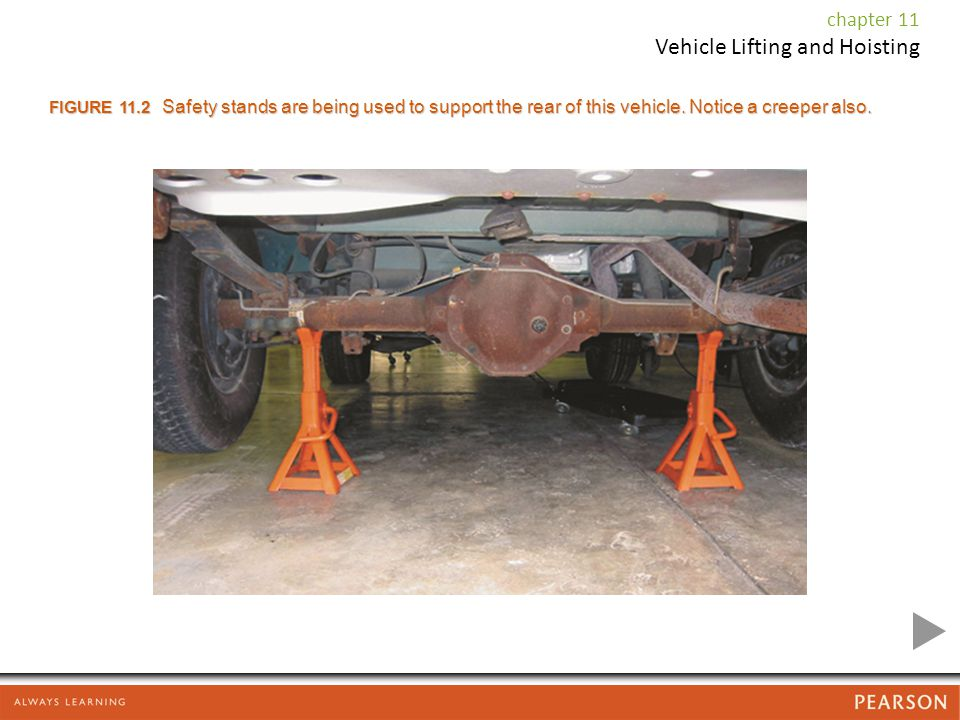 FIGURE 11.2 Safety stands are being used to support the rear of this vehicle. Notice a creeper also.