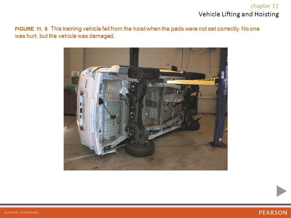 FIGURE This training vehicle fell from the hoist when the pads were not set correctly.
