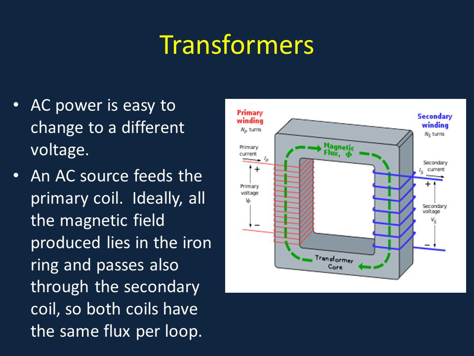 Transformers . AC power is easy to change to a different voltage.