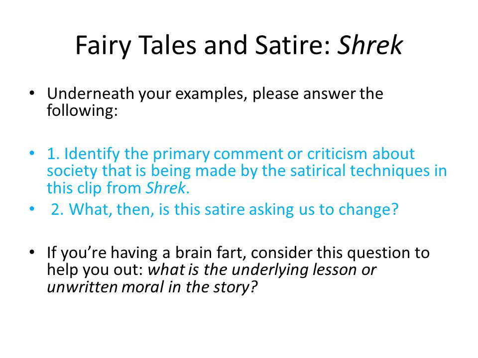 Fairy Tales And Satire Shrek Ppt Video Online Download