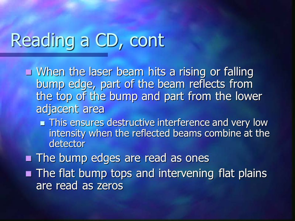 Reading a CD, cont