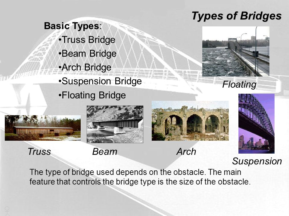Types of Bridges Basic Types: Truss Bridge Beam Bridge Arch Bridge