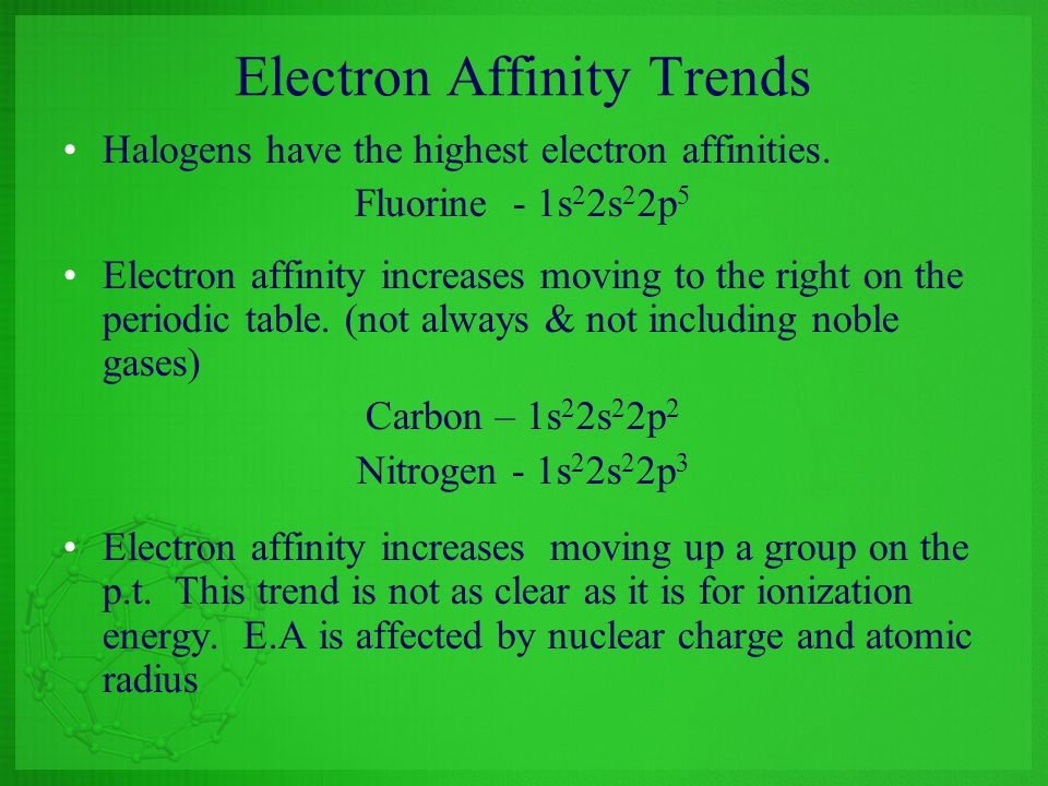 Electron Affinity Trends
