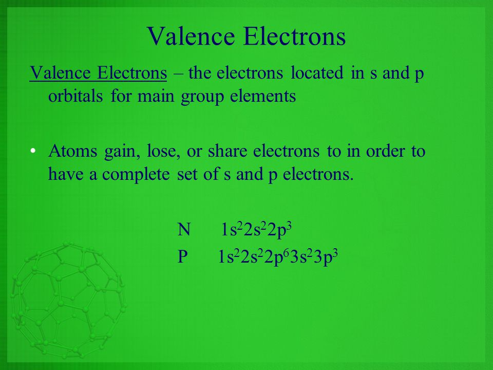 Valence Electrons Valence Electrons – the electrons located in s and p orbitals for main group elements.