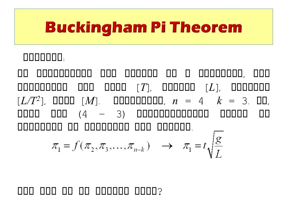 Buckingham Pi Theorem Example:
