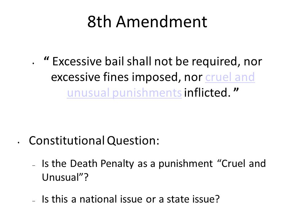 death penalty cruel and unusual punishment Cruel and unusual punishment is a phrase describing punishment that is considered unacceptable due to the suffering, pain, or humiliation it inflicts on the person subjected to it there are generally tests that can serve as a guide to what cruel and unusual punishment is according to various legal.