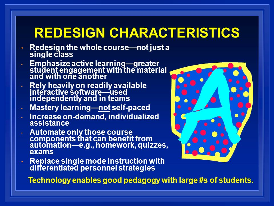 REDESIGN CHARACTERISTICS