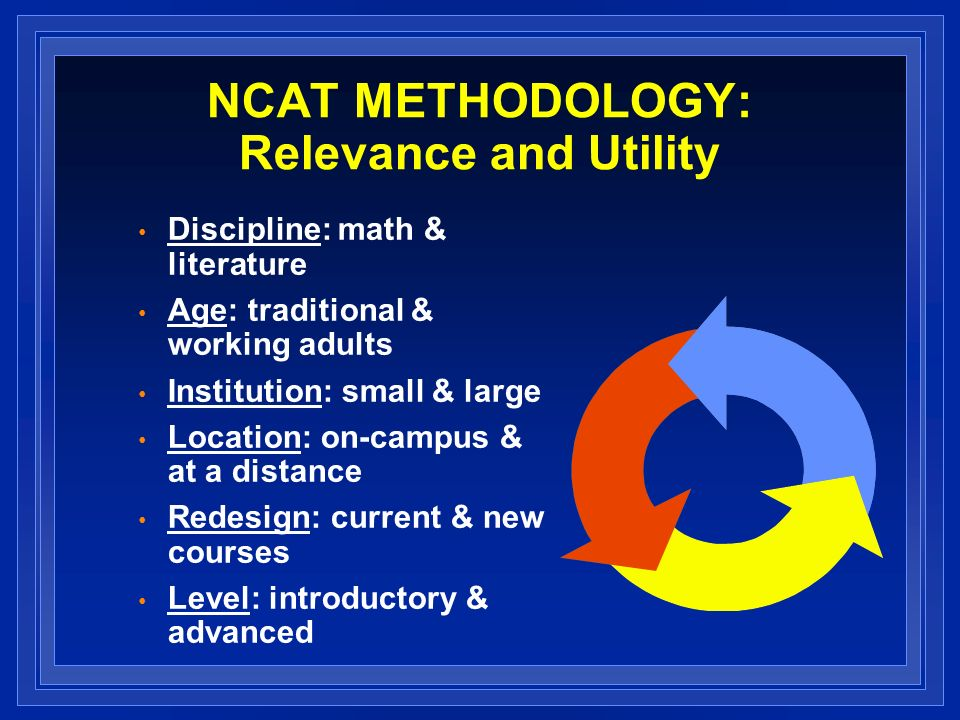 NCAT METHODOLOGY: Relevance and Utility