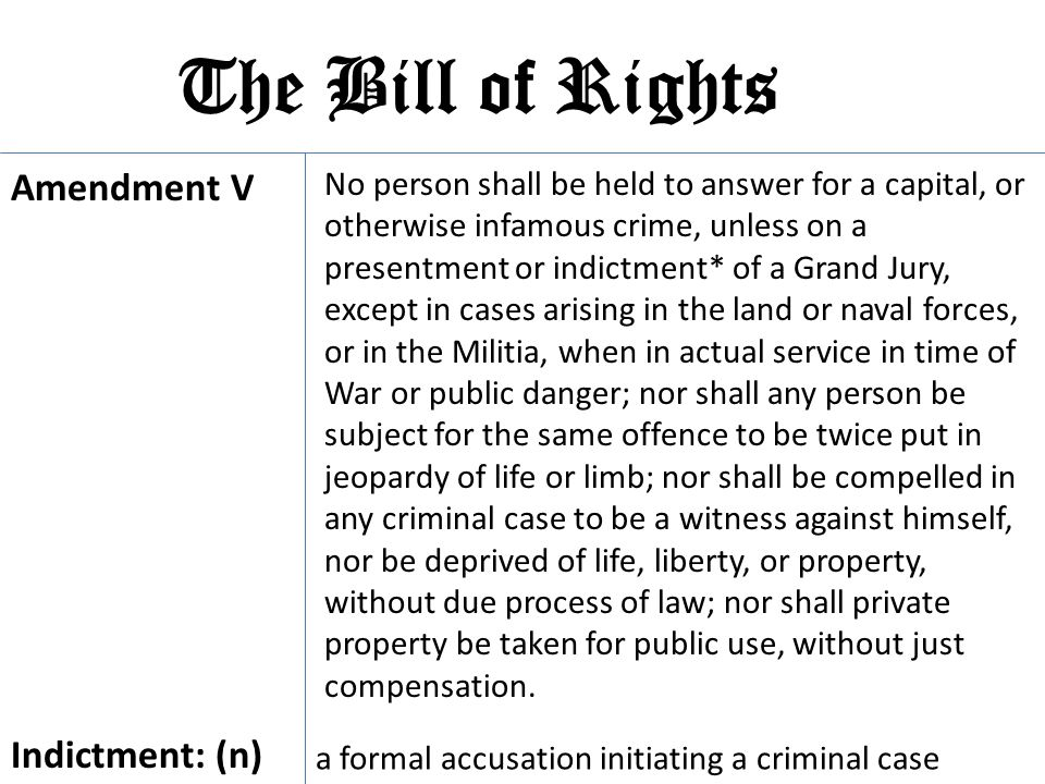 The Bill of Rights Amendment V Indictment: (n)