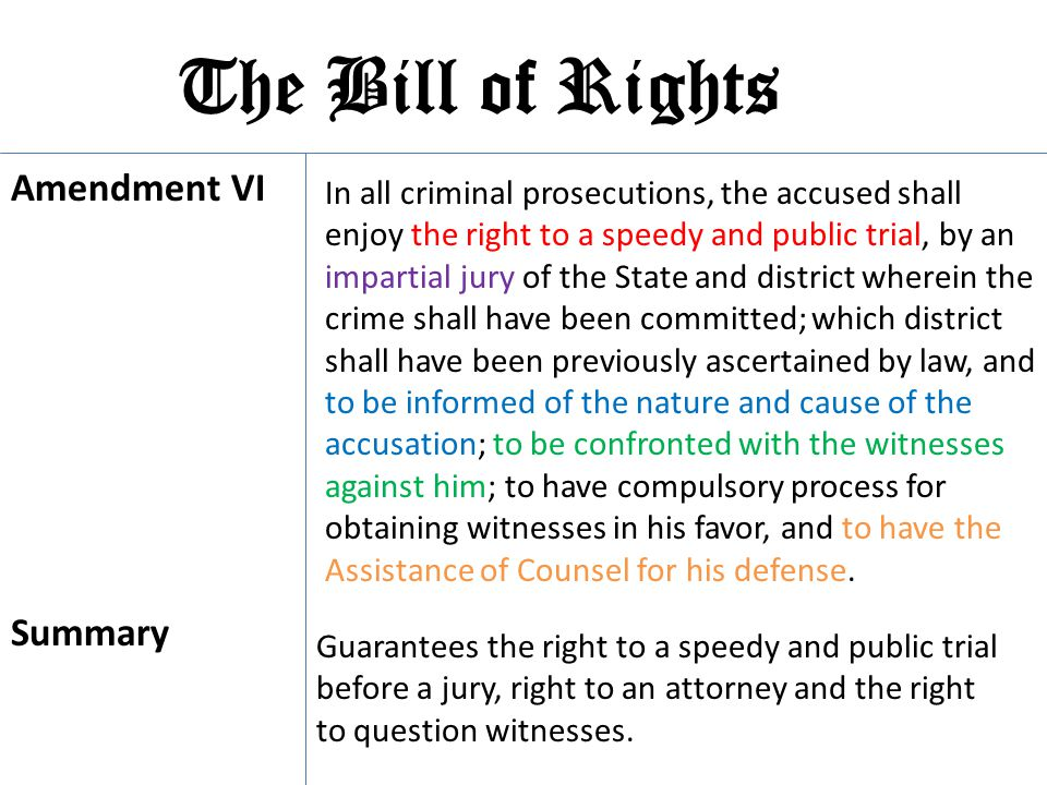 The Bill of Rights Amendment VI Summary