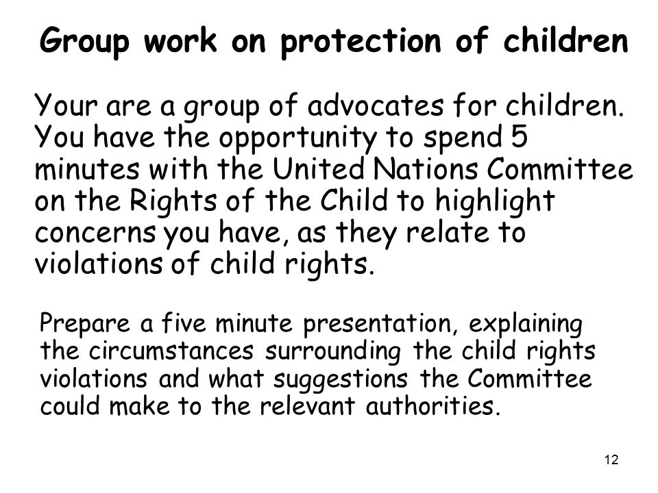 Group work on protection of children