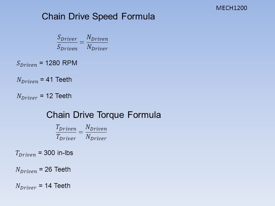 Chain Sprocket Calculation Formula