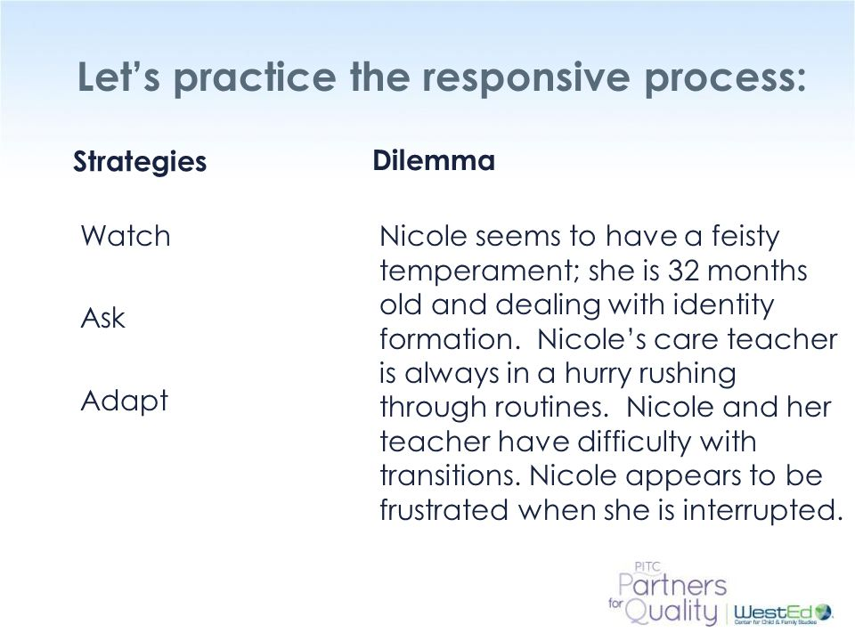 Let's practice the responsive process: