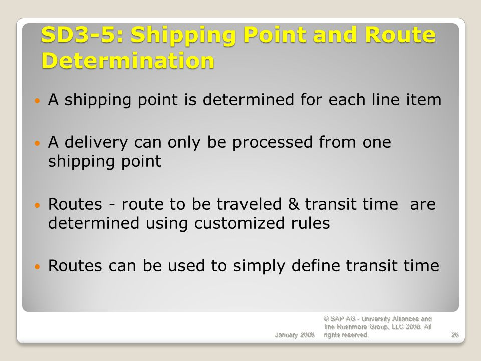 SD3-5: Shipping Point and Route Determination