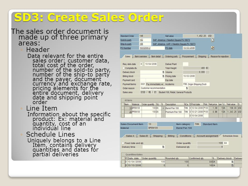 SD3: Create Sales Order The sales order document is made up of three primary areas: Header.