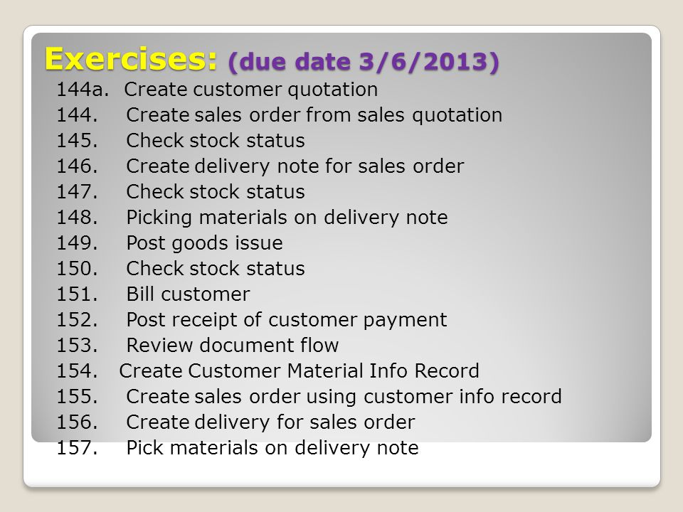 Exercises: (due date 3/6/2013)