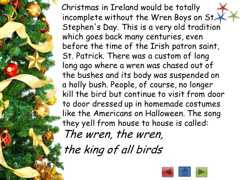 Christmas in Ireland would be totally incomplete without the Wren Boys on St. Stephen s Day. This is a very old tradition which goes back many centuries, even before the time of the Irish patron saint, St. Patrick. There was a custom of long long ago where a wren was chased out of the bushes and its body was suspended on a holly bush. People, of course, no longer kill the bird but continue to visit from door to door dressed up in homemade costumes like the Americans on Halloween. The song they yell from house to house is called: The wren, the wren,