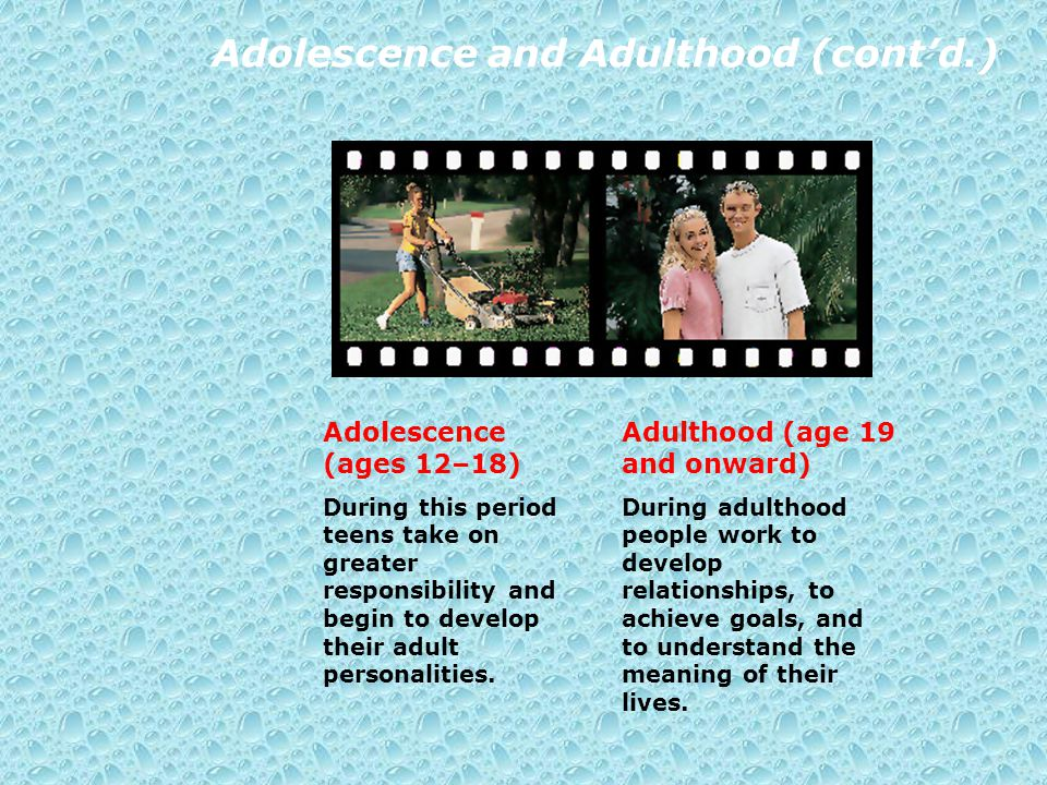 Adolescence and Adulthood (cont'd.)